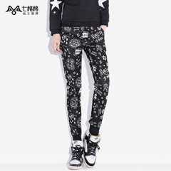 Seven space space OTHERMIX graffiti print pants and cashmere leg black slacks with bound feet women