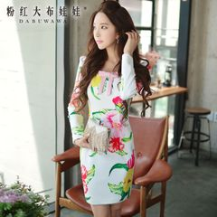 Print dress big pink doll 2015 new ladies long sleeve bow dress Lady dress