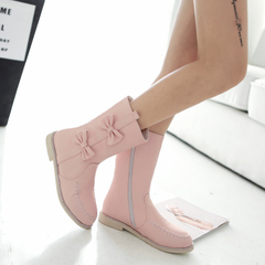 New 2015 winter sweet bow boots side zipper biker boots with flat round head boots students in boots
