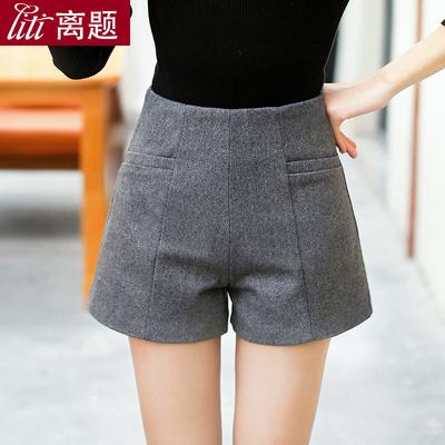 高腰毛呢短褲女2020秋冬季新款顯瘦大碼休閑褲呢子闊腿褲靴褲外穿