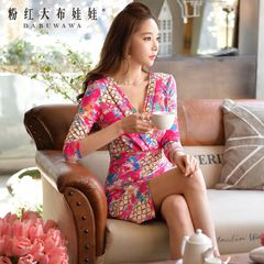 V-neck dress big pink doll 2015 autumn ladies ' slim sexy ladies printed character dress