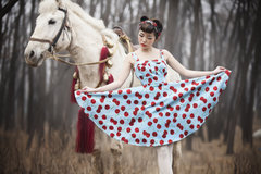 Hebenfeng in Europe and America settle 50 retro blue waist strap spiky red cherry dress