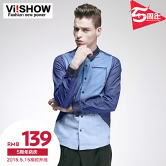 Viishow2015 spring and autumn the new mosaic color shirt long sleeve shirt men's long sleeve slim Korean shirt