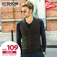 Viishow2015 spring clothes new knit Cardigan men's casual sleeveless sweater tide v-neck cardigan sweater