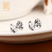 925 Silver old silversmith Korea women simple drill-like bow fashion Korean temperament sweet accessories earring Lady