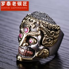 Lucky S925 silver skull ring-style Thai silver men''s rings punk despot fashion jewelry