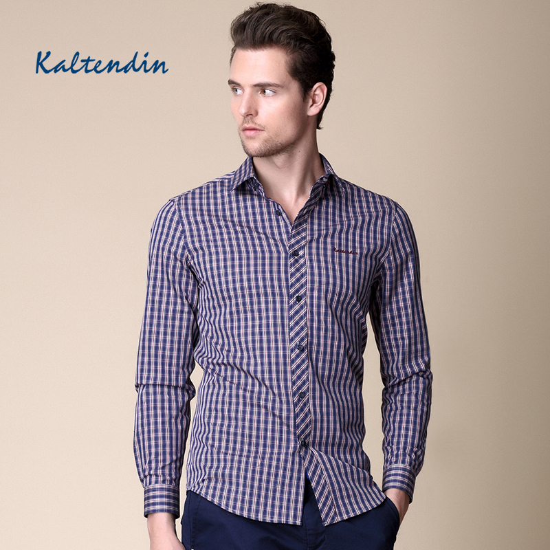卡尔丹顿秋冬新品男士商务休闲长袖衬衫纯棉修身红蓝格子衬衫