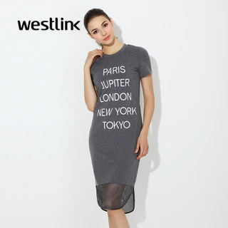 Westlink/West long t letter in the spring of 2016 new wave printing mesh short sleeve dress
