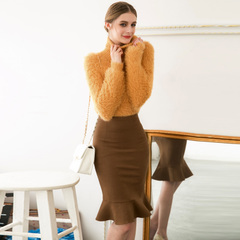 Spring and autumn in Europe and America the new elegant flounces retro fishtail skirts, slit skirts, slim Pack after hip skirts 9279