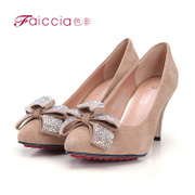 Non genuine new counters hot fix rhinestone bow elegant pointy shoes WGAB72303C
