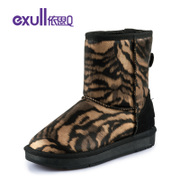 Exull/exull Q2015 new winter boots warm hairy female Snow Leopard flat shoes 15184189