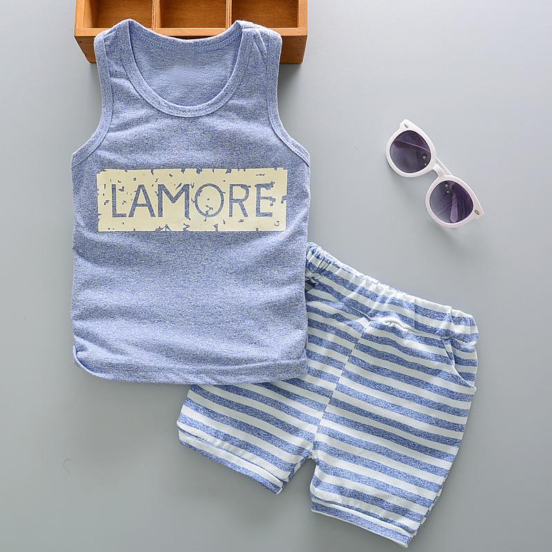 童装男宝宝背心套装01-2-4岁男童宝宝无袖短裤2件套夏季婴儿衣服