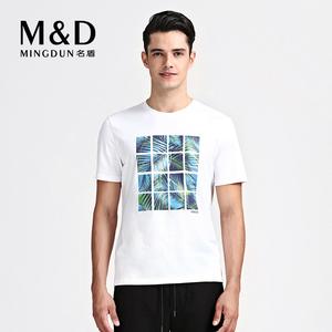 名盾纯棉短袖男T恤韩版印花潮流修身体恤夏季薄款圆领半截袖上衣
