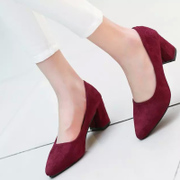 C in spring and summer in the Korean version of the tip work shoes Scrubs high heel thick heel shoes girl shoes casual