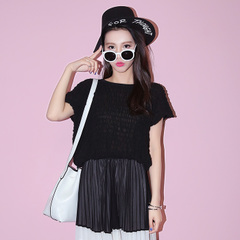 Wild sweet spring/summer QUEENZZ/2015 t elastic pleated chiffon coat with short sleeves shirts Korean girl
