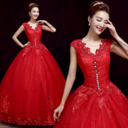 2015 new simple and fashionable shoulder v neck wedding dresses to slim red wedding dress studded to spring and summer