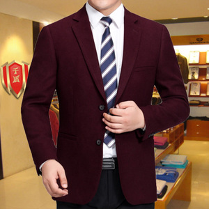 Middle-aged men's woolen material thick suit jacket Qiandun autumn and winter men's casual business suit solid color single western