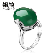 Silver Hong Thai silver ring 925 Silver jewelry natural green agate fashion Korean ladies red corundum the index finger ring