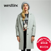 Westlink/West New 2015 winter Europe simple loose wool woolen cloth coat wool women coat