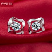Special purchases for the Korean version of cubic zirconia Stud Earrings 925 Silver women jewelry simple sweet temperament, Japan and South Korea presents Joker hypoallergenic