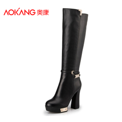 Aokang shoes fall/winter new ultra high heel buckle boots waterproof side zipper British fashion women boots