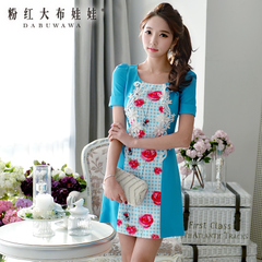 Slim dress pink new spring/summer doll 2015 rose puff sleeve Plaid print dress