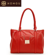 Honggu red Valley women''s header layer of leather shoulder bags fashion in Europe and America contrast color zipper bags bulk bag 0117