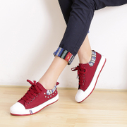 Clearance specials fall 2015 low air rivet with flat colour matching women's sweet Middle-sneakers women