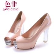 Spring new authentic fish counters of non ultra high heel patent leather chunky heels women's shoes WHA700102C