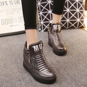 Increased women's shoes fall of Korean sport shoes women platform wedges high heels shoes side zip shoe tide girls
