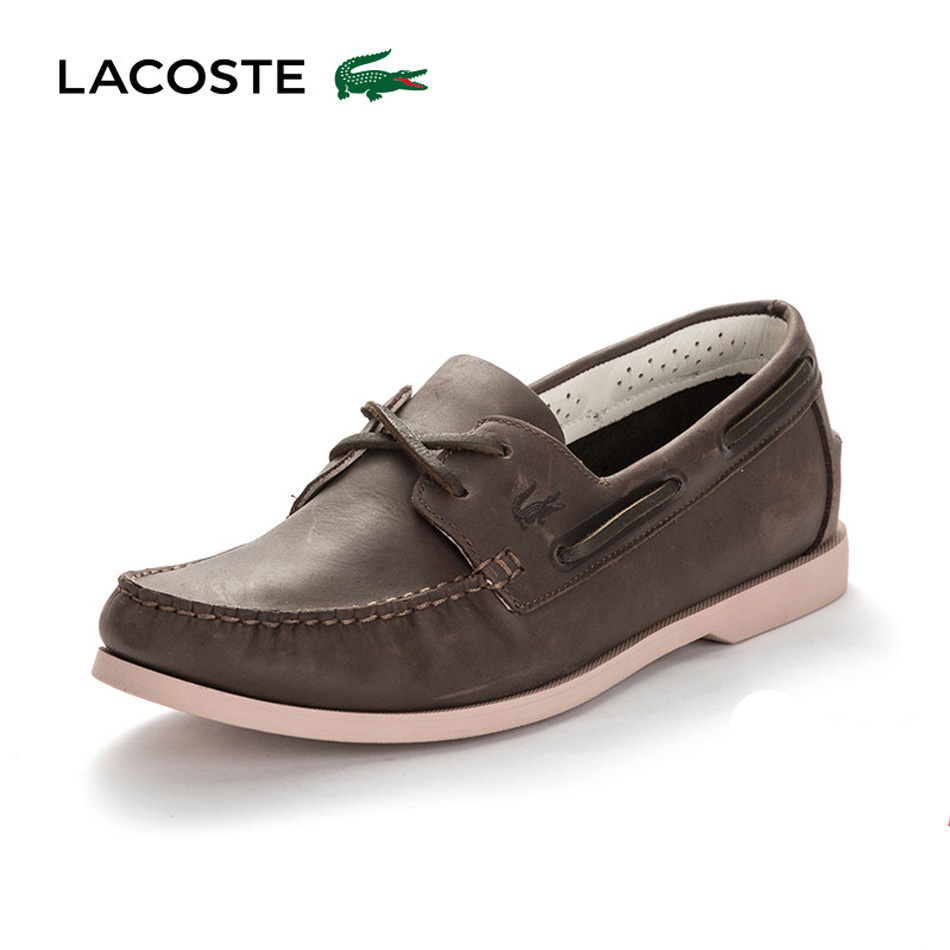 LACOSTE/法国鳄鱼男鞋 低帮一脚套牛皮休闲帆船鞋NAVIRE PREMIUM