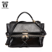 Wanlima/million 2015 fall/winter handbags new solid baodan shoulder-slung dumpling leather handbag