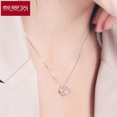 七夕情人节礼物 幸福魔方项链女925银韩版气质甜美锁骨链饰品