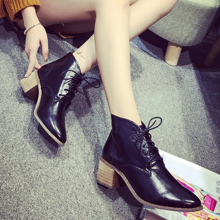 Europe 2015 winter season new short boots with chunky heels in line with point Martin nude boots biker boots women''s boots