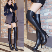 Europe winter new style leather skinny leg stretch pointy stilettos boots high boots knee boots women's boots