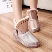 2015 winter new Korean warm non-slip boots with round head rivets thick cotton-padded shoes booties women's boots at the end of the tide