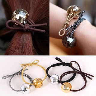 Know Connie hair accessories Korean version of the popular circle clear Crystal acrylic beaded Butterfly jewelry loving man cleans the rope end
