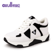Exull q2016 new flows of spring shoes black and white Panda platform head sports and leisure women shoes 16154155