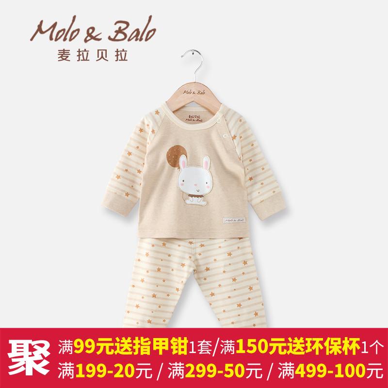 婴儿内衣套装春秋纯棉长袖睡衣秋衣秋裤肩开套装男女童宝宝衣服产品展示图2