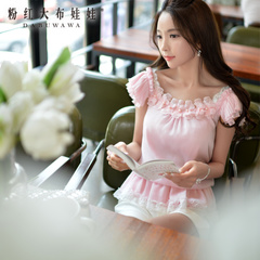 Chiffon Shirt Pink large dolls 2015 summer styles dresses ruffled blouse Joker off the shoulder tops