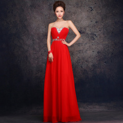 Purple Fairy toast with purple red long dress dinner dress on bride wedding dress new costumes from spring of 2015-