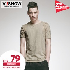 Viishow2015 summer dress new short sleeve t shirt mens crew neck cotton short sleeve t-shirt in Europe and code simplicity