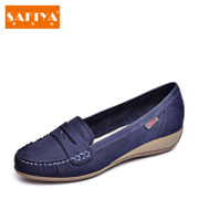 Safiya/Sophia-fall 2015 new leather wedges lazy round head shoe shoes shoes SF53111004