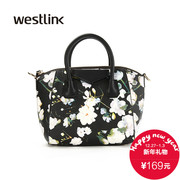 Westlink/West-fall 2015 Europe and black retro wave print handbag bag retro handle bag