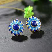 Very natural lapis lazuli earrings 925 Silver ladies Thai Chao Thai silver currents burn blue Stud Earrings new