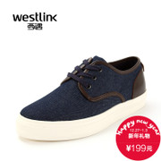 Westlink/West fall 2015 new wave cool cowboy mosaic male student with thick-soled casual shoes