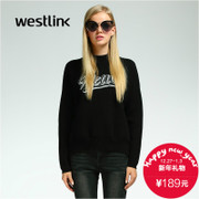 Westlink/West thickened 2015 winter new letter sweater dropped shoulders loose head female sweaters