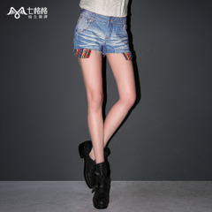Seven space space OTHERMIX2015 spring/summer new prewashed worn low-waist light denim shorts women