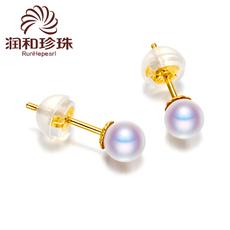 润和珠宝 简心4.5-5mm精圆akoya日本海水天小珍珠耳钉耳环然18k金