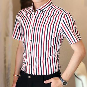 男士短袖衬衫修身夏装短袖条纹半袖衬衣商务纯棉免烫竖条纹寸衫潮